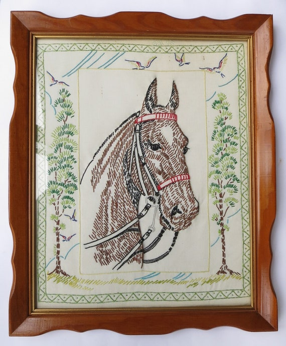 puppies under a tree Vintage Embroidery Picture Pattern ~ Horse Mare