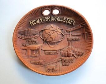 New York's World's Fair Souvenir Tray, Vintage 1964 Unisphere Wall Plaque