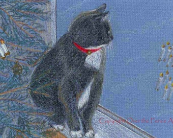 Cat Christmas Card Animal Art Cat Art Kitty with Red Collar  Waits by Window Near Christmas Tree for Santa to Arrive Fine Art Illustration