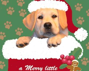 Dog Christmas Card Art Labrador Puppy in Stocking Wears Santa Hat