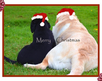 Labrador Christmas Card  Dog Best Friends Photo Greeting Card  Dog Christmas Costume