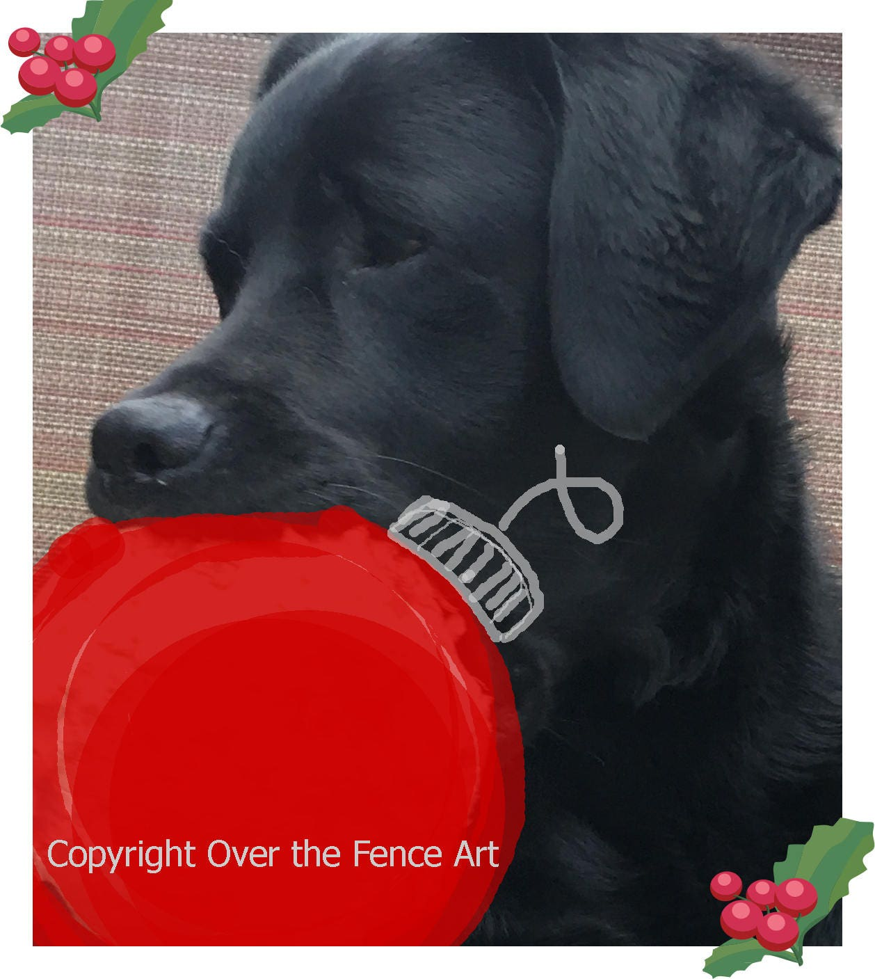 Black Labrador Christmas Card Dog Celebrates Christmas with | Etsy