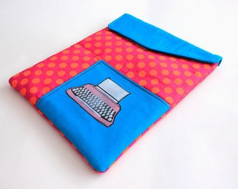 iPad Sleeve -Typewriter iPad cover- Padded fabric iPad case