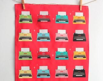 Mid century typewriter tea towel: Retro tea towels