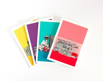 City Scape  post card set,  travel post cards, small art prints