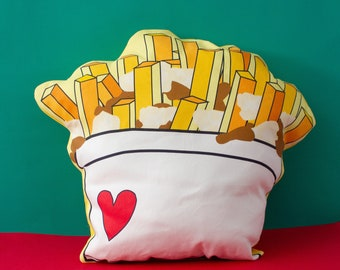 Poutine pillow, decorative pillows, Food lover pillow, Canadian gifts