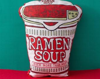 Ramen soup pillow, decorative pillow, Food lover pillow,