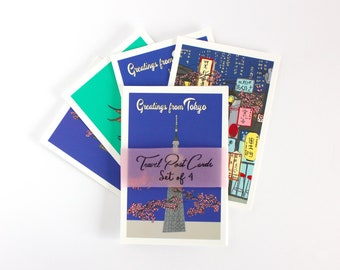 Tokyo  post card set, Japan inspired travel post card, small art prints
