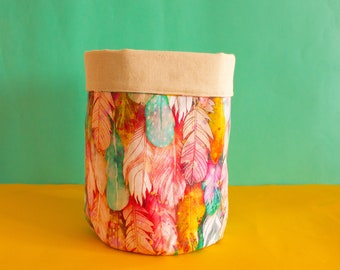 Fabric plant cover- Feathers, canvas fabric basket-  plant pot