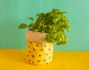Yellow Bees plant cover- canvas fabric basket- plant basket