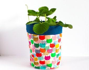 Pot plant cover- canvas fabric basket- Cats fabric plant pot