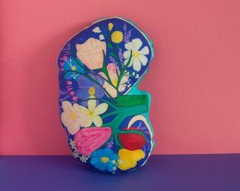 Kidney pillow, Atomical kidney decorative pillow, floral pillow, Kidney Transplant pillow