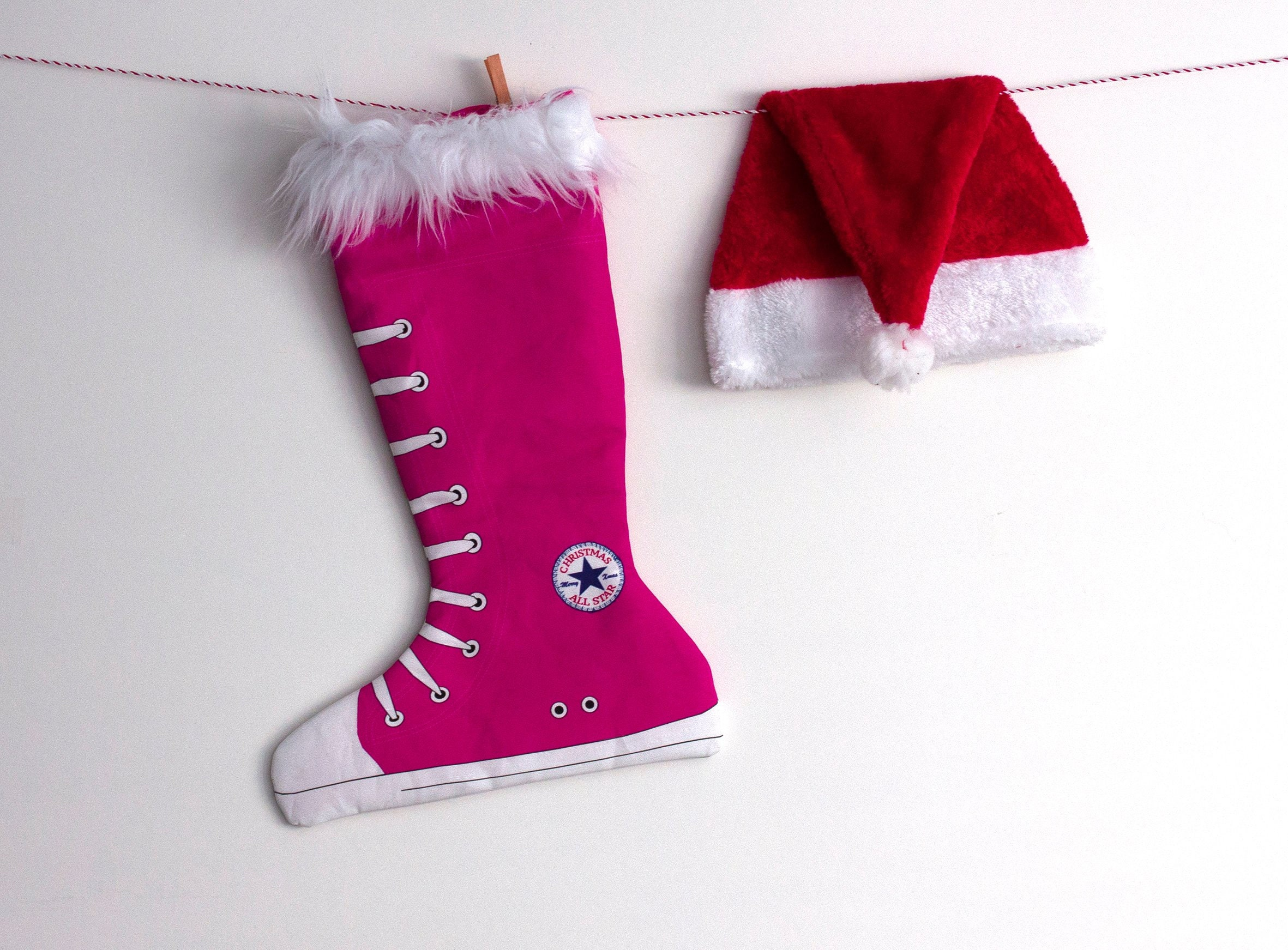 Christmas Stockings Converse Inspired Girl Holiday Stockings Hot Pink