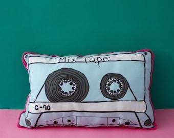 Mix tape cassette pillow, decorative pillows, illustrated pillow