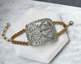 Repurposed Vintage Art Deco Rhinestone Buckle bracelet with brass chain