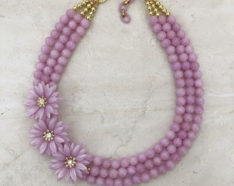 Lavender beaded statement necklace with vintage celluloid flowers