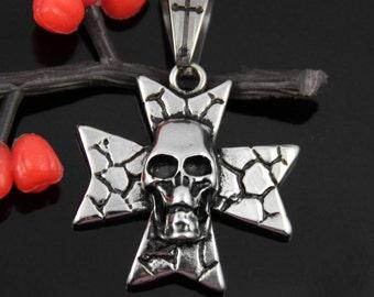 Clearance-Skull Cross Stainless Steel Pendant-009