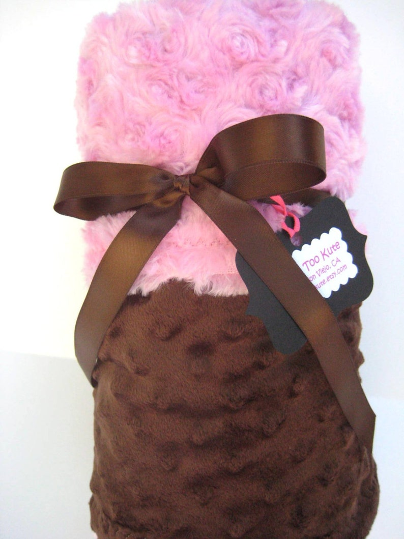 Personalization is Available Pink and Brown  Minky Stroller Blanket
