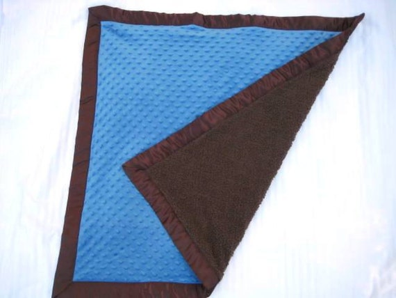 Cobalt Blue and Chocolate Brown Minky with Satin Binding Infant Cuddle Blanket