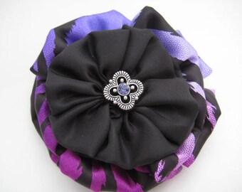 Purple Hair Bow - Passionate Purple/Black  Zebra Print Hair Bow - Rich Silky Fabric