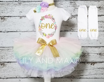 First birthday girl Outfit, Pink and gold floral ONE birthday outfit girls, pink gold girl outfit, 1st birthday smash cake outfit