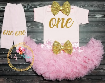 Pink and gold birthday outfit, first birthday girl Outfit, pink pettiskirt, pink and gold One outfit, One birthday smash cake outfit