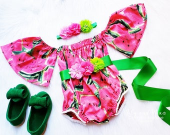 d2fb739a1189 Watermelon birthday outfit, 1st birthday Watermelon romper, Watermelon  tropical baby romper girl outfit, 1st birthday girl fall outfit