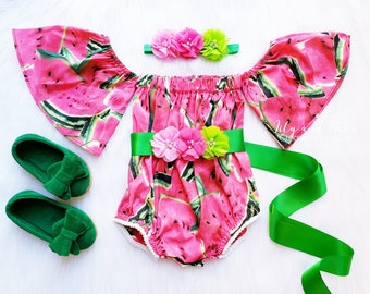 f79387d22b3c Watermelon baby girls romper, Watermelon girls birthday outfit, Watermelon  tropical baby romper girl outfit, 1st birthday girl fall outfit