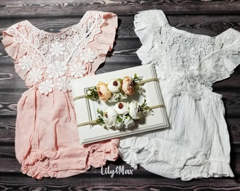 d861e0f04 Boho chic white baby girls romper, BOHO Chic girl white outfit, Rustic  white floral girl outfit, Baptism lace baby girl bubble romper set