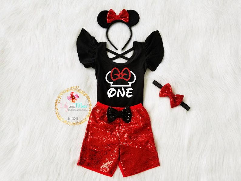d25228d40eb4 Minnie Mouse birthday girl outfit minnie mouse fluttered   Etsy