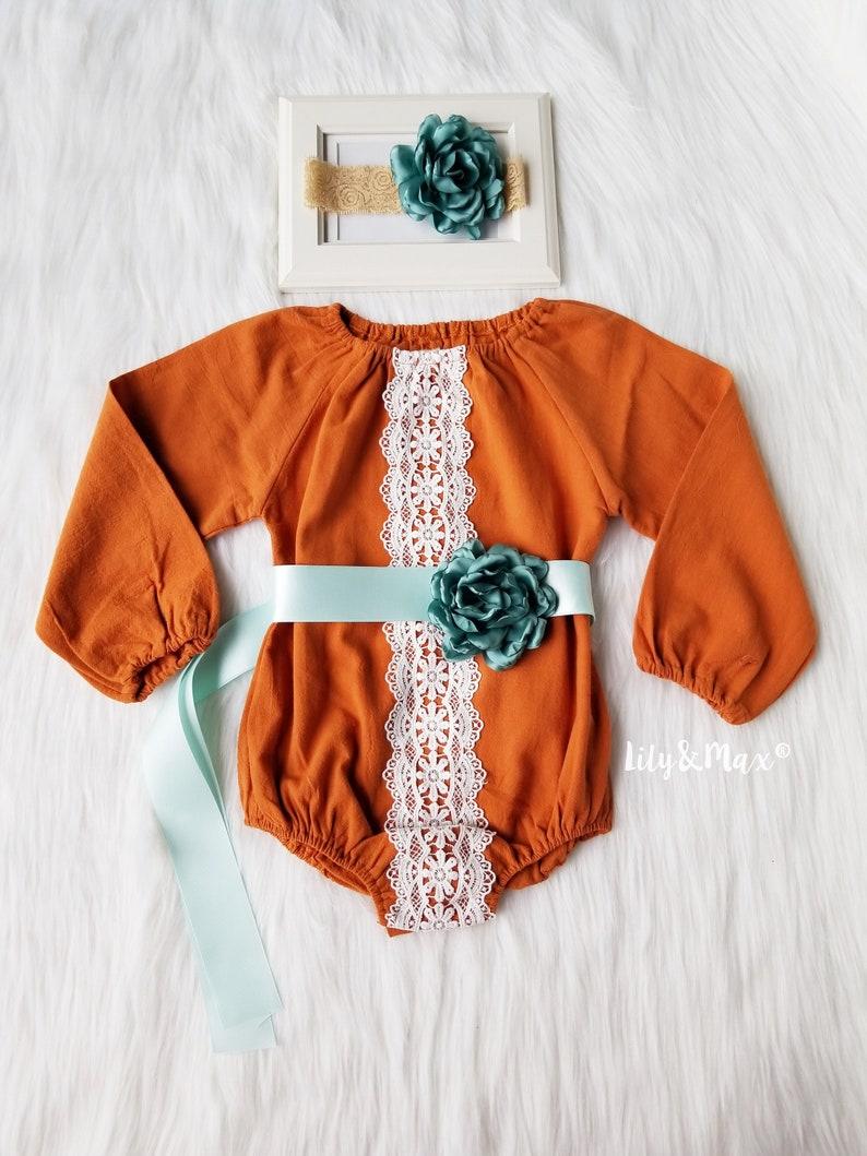 ed82f53ce2836 Boho chic fall pumpkin spice baby girls romper Girl fall | Etsy