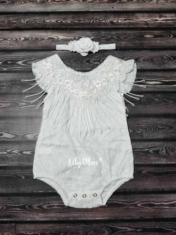 e041178ef Baptism baby girls outfit Christening baby girl white romper | Etsy