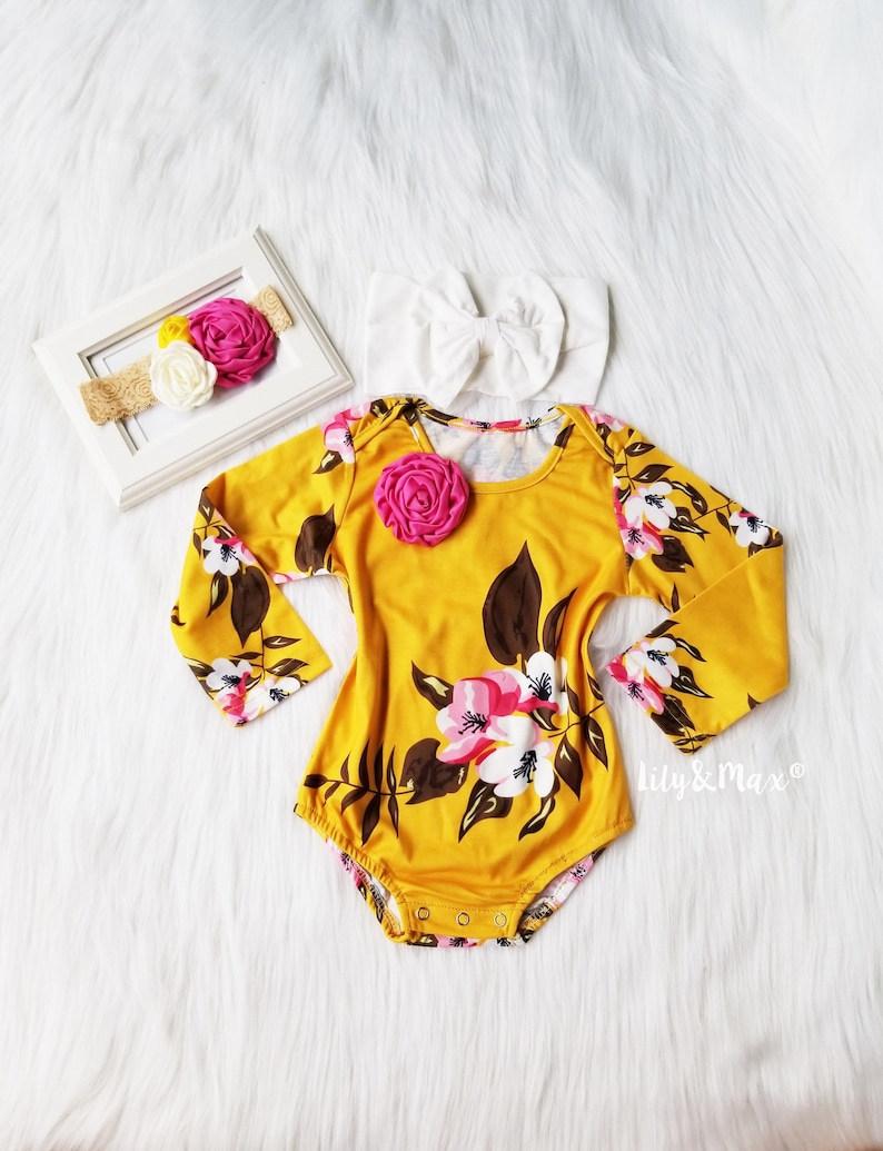 b1f18e972 Boho chic fall mustard floral baby girls romper Girl fall   Etsy