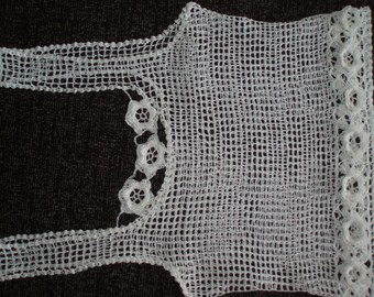 Crochet lace white girls womens summer beach halter top vest blouse with 3D flowers