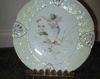 Vintage Weimar Flower Fairy Cherub Plate with Nouveau Easel Stand Victorian