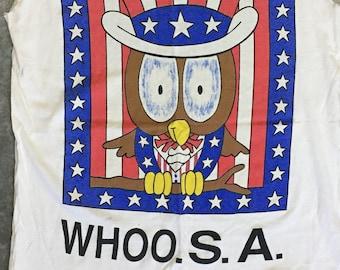 Patriotic Uncle Sam Owl t-shirt. vintage, cutoff, one size (L-XL)
