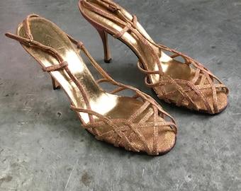0bf2fdb30e29d Dolce   Gabbana vintage 1990 s rainbow metallic strappy sandal 38 1 2