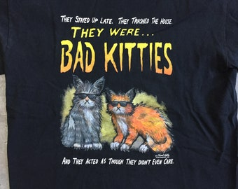 vintage 80s t-shirt Bad Kitties by Frank Coble. M. 100% cotton