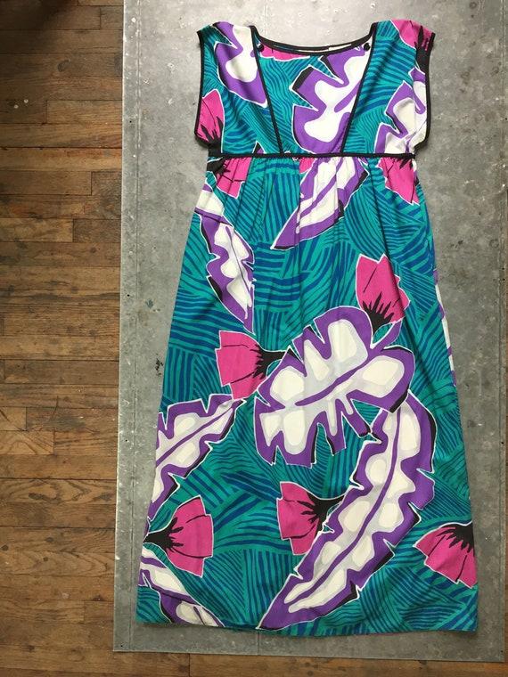 Bill Tice long tropical flower print dress-L-made