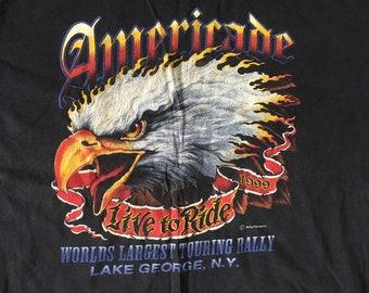 Americade-Live to Ride 1999 biker rally t-shirt, Lake George NY