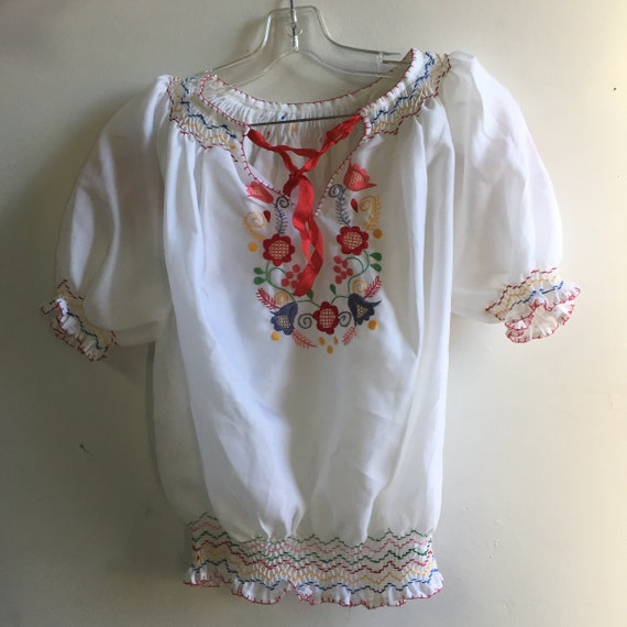 vintage hand embroidered Hungarian blouse