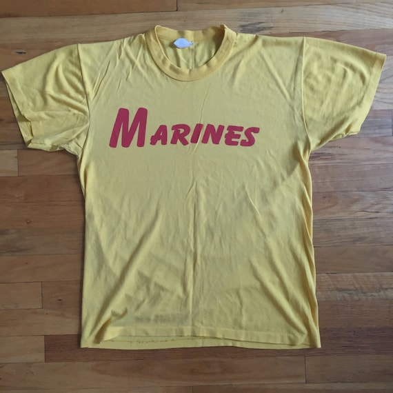 vintage Marines 1970's t-shirt, L, yellow