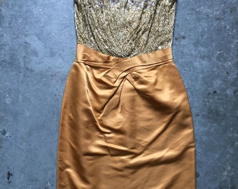 1940's silk dress with beads and sequins- S