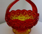 Orange Ruffled Art Glass Vase Basket Display