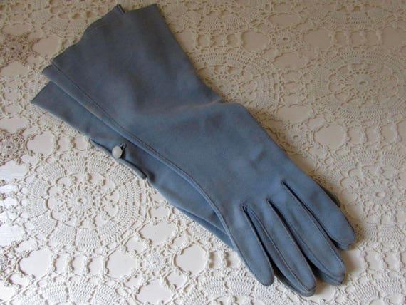Vintage  1950s Dove Blue Grey Elbow Length Gloves