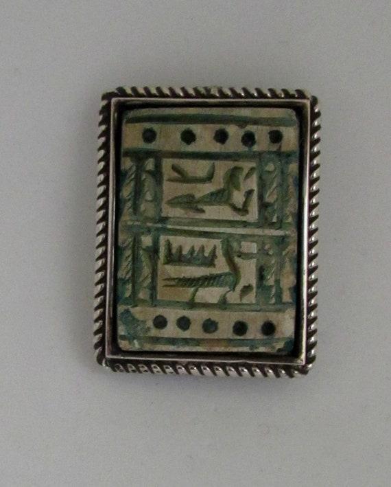 Vintage Sterling Silver Egyptian Hieroglyphics Fai