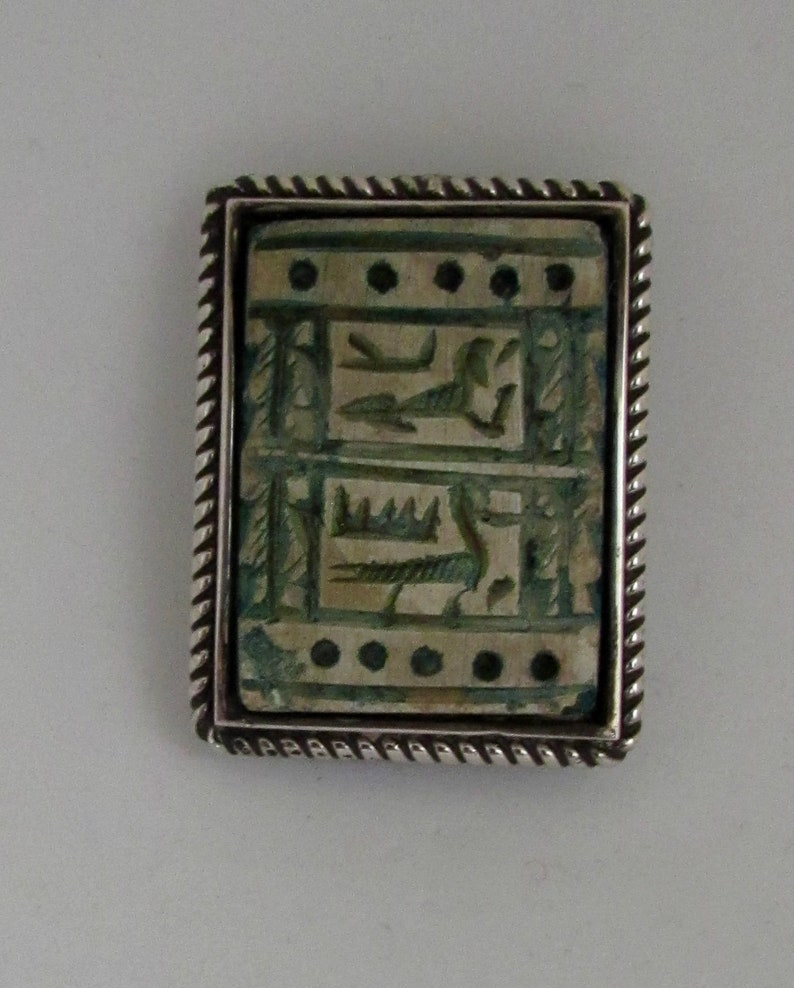 Vintage Sterling Silver Egyptian Hieroglyphics Faience Pin Brooch