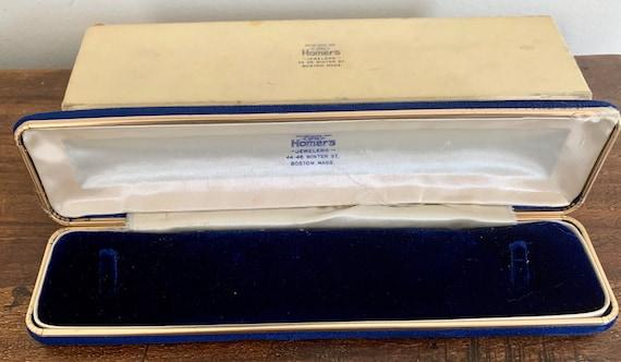 Antique Blue Velvet Bracelet Box Keepsake Box Hom… - image 2