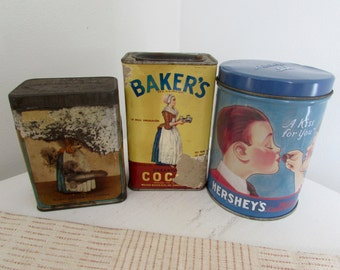 Antique Cocoa Tins Baker's Brand Hershey's Chocolate Tin