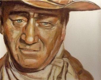 John Wayne.  Portrait.  Pastels on sanded paper.  Framed.